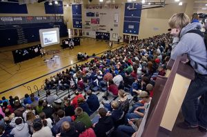 Bulling assemblyStudents fill the gym at Ellensburg High School during an anti-bullying assembly led by Central Washington University students on Feb. 1. (Brian Myrick / Daily Record)